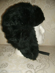 BNWT-NEW-LOOK-MENS-BOYS-LADIES-BLACK-FULL-FAUX-FUR-TRAPPER-ESKIMO-SKI-HAT