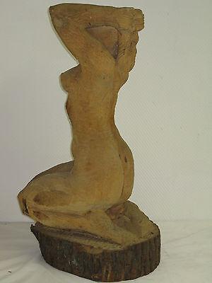 Geschnitzte Figur 95cm Mädchen Akt  Parkfigur