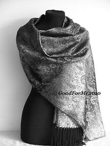 Pashmina Shiny Sparkly Wedding Silver Cream,White,Grey