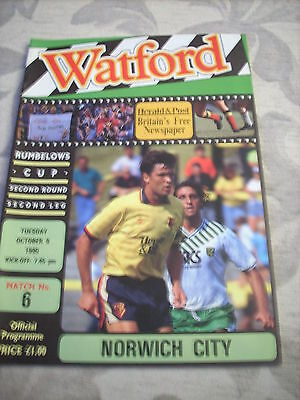 9.10.90 Watford v Norwich City programme Rumbelows Cup