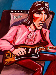 GEORGE-HARRISON-PRINT-poster-beatles-white-album-cd-fender-guitar-amp-abbey-road