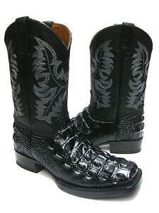 MENS-BLACK-SQUARE-TOE-ALLIGATOR-CROCODILE-BACK-CUT-COWBOY-BOOTS-WESTERN-EXOTIC
