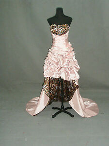 Pale Pink Leopard Print Prom Ball Wedding Dress Gown