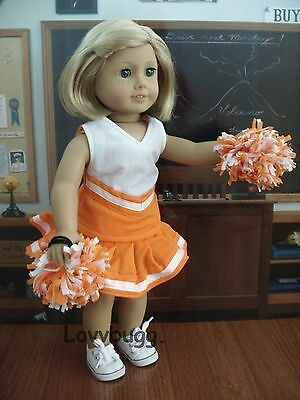"Lovvbugg Orange Cheerleader outfit w/ Pom Poms for 18"" American Girl and Bitty Baby Doll Clothes"