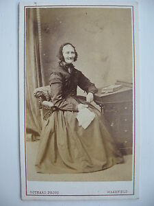 Antique-Photograph-OLD-LADY-SITTING-AT-DESK-Gothard-Photo-Wakefield-Victorian