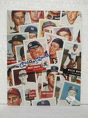 Mickey Mantle Signed New York Yankees 8X10 Baseball 1953 Topps Card Collage JSA