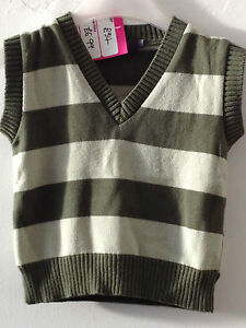 KNITTI-Boys-Striped-Cotton-V-Neck-Tank-Top-Forest-Green-Mint-4-5-YRS-RRP-34