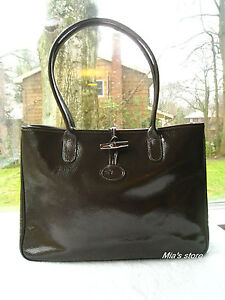 AUTH Longchamp Purse Roseau Verni Patent Leather Long Strap Shoulder Tote Bag