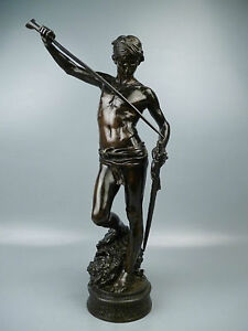 19th-C-Bronze-Sculpture-DAVID-GOLIATH-by-Antonin-Mercie-Barbedienne-Foundry