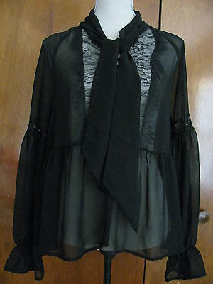 Free People Women's Black Evening Detailed Mesh Crafted Top Sz Small