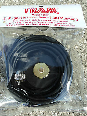 Tram 5 Magnet Nmo Mounting W/ Rubber Boot Uhf Male - Antenna Mount Pl-259 17'
