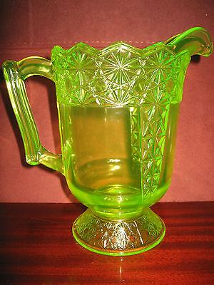 yellow Vaseline Glass water serving Pitcher daisy and button Pattern uranium art