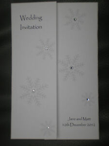 10 Handmade Personalised Gatefold Wedding Invitations - snowflake winter wedding