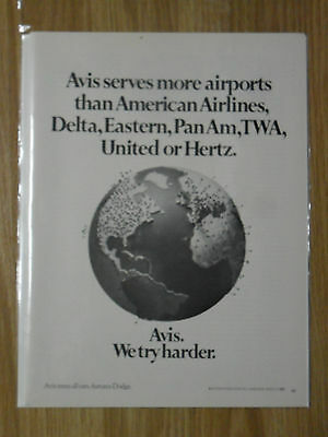 1970 Print Ad Avis Rental Car   Serving More Airports Than Most Airlines