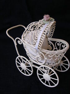 DOLLHOUSE MINIATURE PRAM - BABY CARRIAGE FOR DOLL NURSERY -ANTIQUE WHITE WIRE