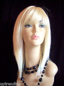 100% REAL HUMAN HAIR LADY WIG SMOOTH LAYER SKIN TOP PALE BLONDE 613# PLATINUM