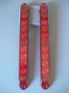 2-Red-11-Diode-LED-Light-Bars-Trailer-Truck-Stop-Turn-Brake-Tail-ID-J-5354-R