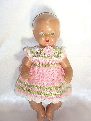 Nostalgiekleid Strickkleid Puppenkleid SK Strampelchen , Baby  Puppen 15 - 17 cm