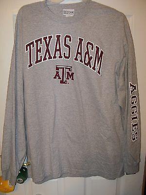 Texas A & M A&m Aggies Gray Arm Design Long Sleeve Shirt Mens Size Large