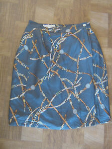 VTG-80s-Casual-Corner-Chains-and-Belts-Skirt-Size-6-NWT-Scarf-Print
