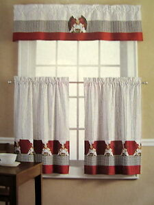 Fat Chef Pasta French Italian Red Black 36l Tiers Valance
