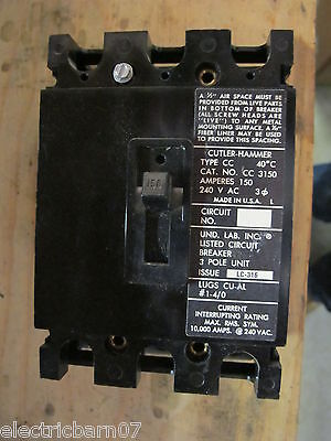 Cutler Hammer Cc3150 150 Amp 3 Pole 240 Volt Circuit Breaker- Warranty