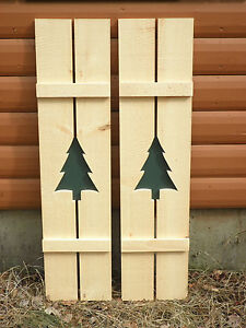 rustic pine shutters log cabin exterior window custom handmade tree