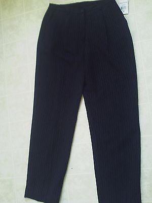 Women Evan Picone Black Striped Dress Pants - - Size 6