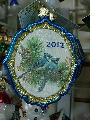"Old World Christmas Glistening ""2012 Blue Jays"" Ornament-GLASS"