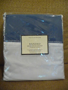 NWT Pottery Barn Banded Hemstitch Duvet Cover Full Queen French Blue