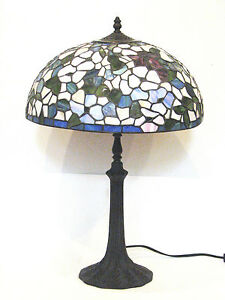 Large Stained Glass Table Lamp - Antique Dogwood Shade w Metal Base