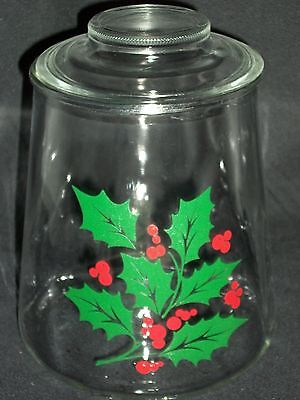 Large Christmas Holly Berry Cookie Snack Jar Canister Container Candy