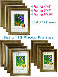 Lot-Set-of-12-Photo-frames-hold-pictures-size-4x6-5x7-8x10-glass-pane-PF-035-New