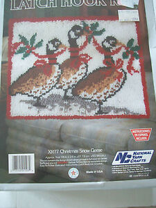 NEW-Vintage-1988-Latch-Hook-Kit-Christmas-Snow-Geese-18X24-Holiday-Yarn-Crafts