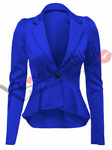 LADIES WOMENS CROP PEPLUM FRILL BLAZER WORK OFFICE JACKET SMART JACKETS COAT TOP