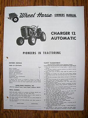Wheel Horse -charger 12 Owners/ Parts/mower Deck/ Engine Manual