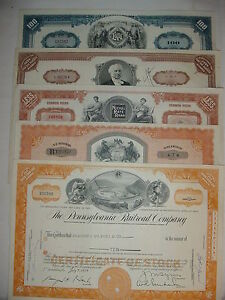 Lot-of-5-Different-Railroad-Stock-Certificates-Pennsylvania-Erie-Monopoly-RR