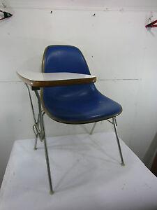 details about vintage herman miller blue school desk chair w laminate