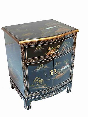 Black Lacquered Artistry Design Side Cabinet Oriental Furniture Chinese Bedside