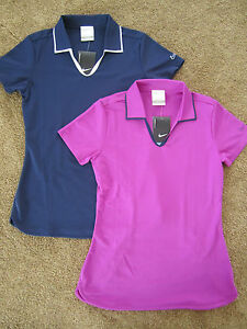 Nwt nike golf dri fit womens short sleeve polo shirt navy for Women s dri fit golf shirts