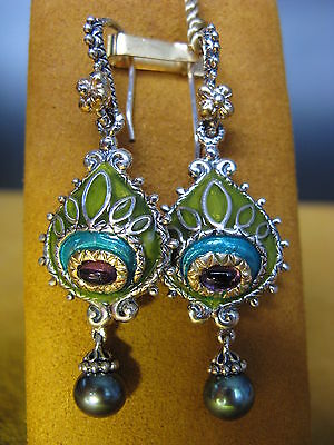 Barbara Bixby Peacock Earrings Amethyst Pearl Enamel Ss 18k Designer Gift