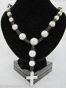 BEST QUALITY SHAMBALLA PARIS LONG ROSARY CROSS NECKLACE GENUINE CRYSTAL/HEMATITE