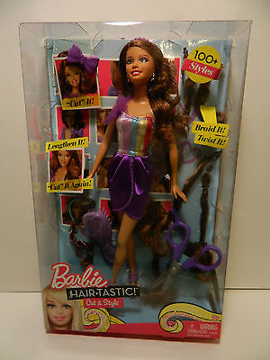 Barbie Hair Tastic Cut & Style Brown Hair Ages 3+ In Box