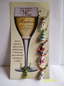 BOSTON-WAREHOUSE-Wine-Markers-Christmas-Themed-Santa-Tree-Snowman-NEW