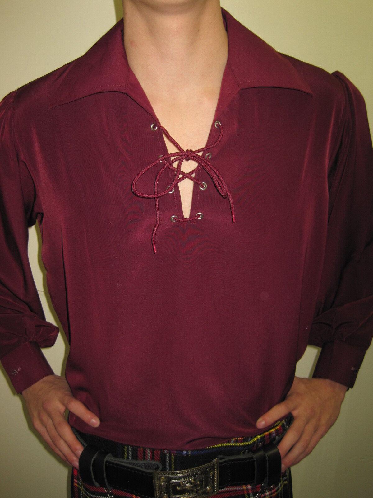 Maroon Jacobite Ghillie Kilt Shirt Small, Med, Large, Xl, 2xl, 3xl, 4xl