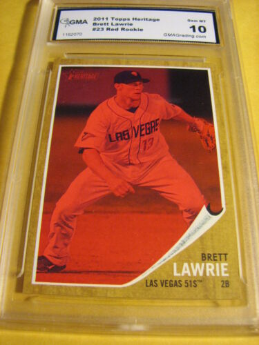 BRETT LAWRIE JAYS 2011 TOPPS HERITAGE RED ROOKIE RC # 069/620 GRADED 10