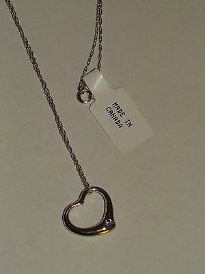 Wow Sale 14k Solid White Gold February Amethyst Heart Shape Necklace 17 Canada