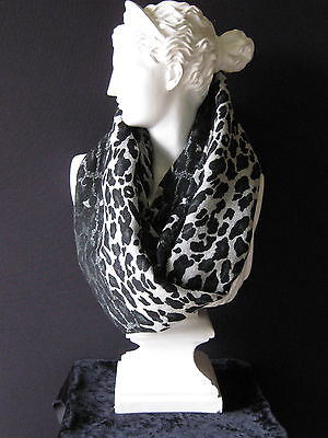 Tolani Black, Grey & Cream Leopard Infinity Snood Scarf Brand With Tags