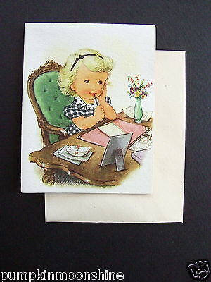 D854- Unused Ars Sacra 1947 Greeting Card Cute Girl Writing A Letter to Friend