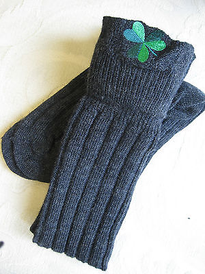 Embroidered Kilt Hose Socks ( Gray /w Irish Shamrock ) Size Large
